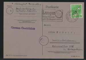 Berlin Brief EF 4 Schwarzaufdruck Werbestempel Lungen TBC auf Karte n. Friedenau