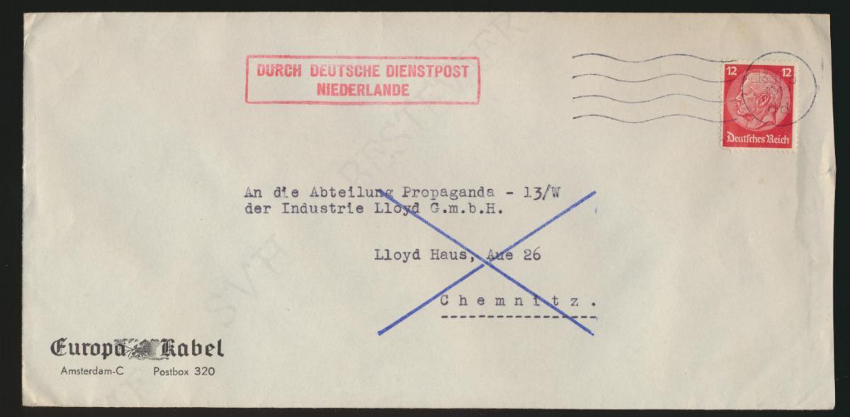 Besetzung Deutsche Dienstpost Niederlande K1 13 11 5 1942 dd EF Deutsches Reich 0