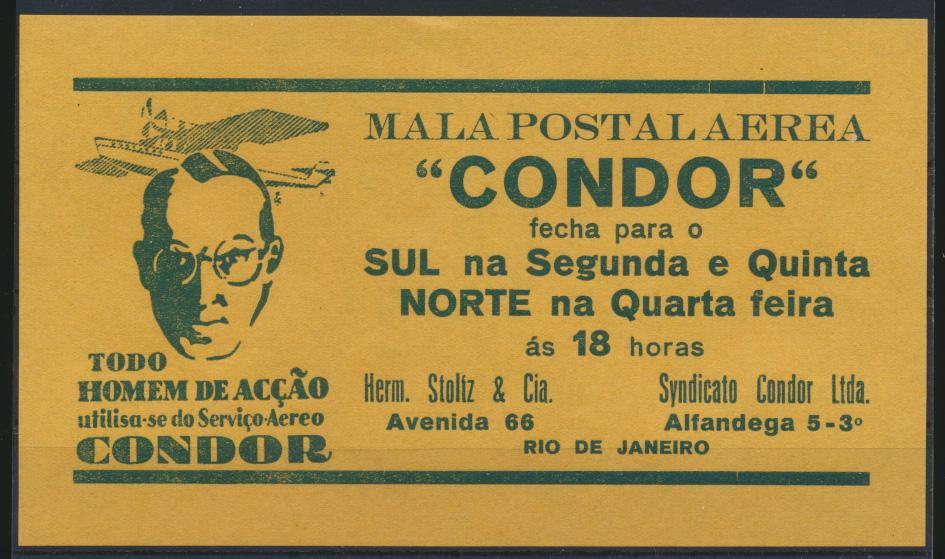 Flugpost airmail Condor selt. Handzettel Art Deco Brasilia Rio De Janeiro 0