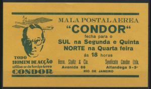 Flugpost airmail Condor selt. Handzettel Art Deco Brasilia Rio De Janeiro