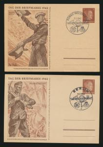 Deutsches Reich + Besetzung Lot von 5 Ganzsachen teils SST Tag der Briefmarke