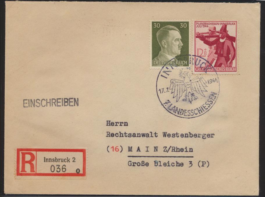 Bahnpost Österreich Frankatur D. Reich R Brief SST Innsbruck Landes Schiessen  0