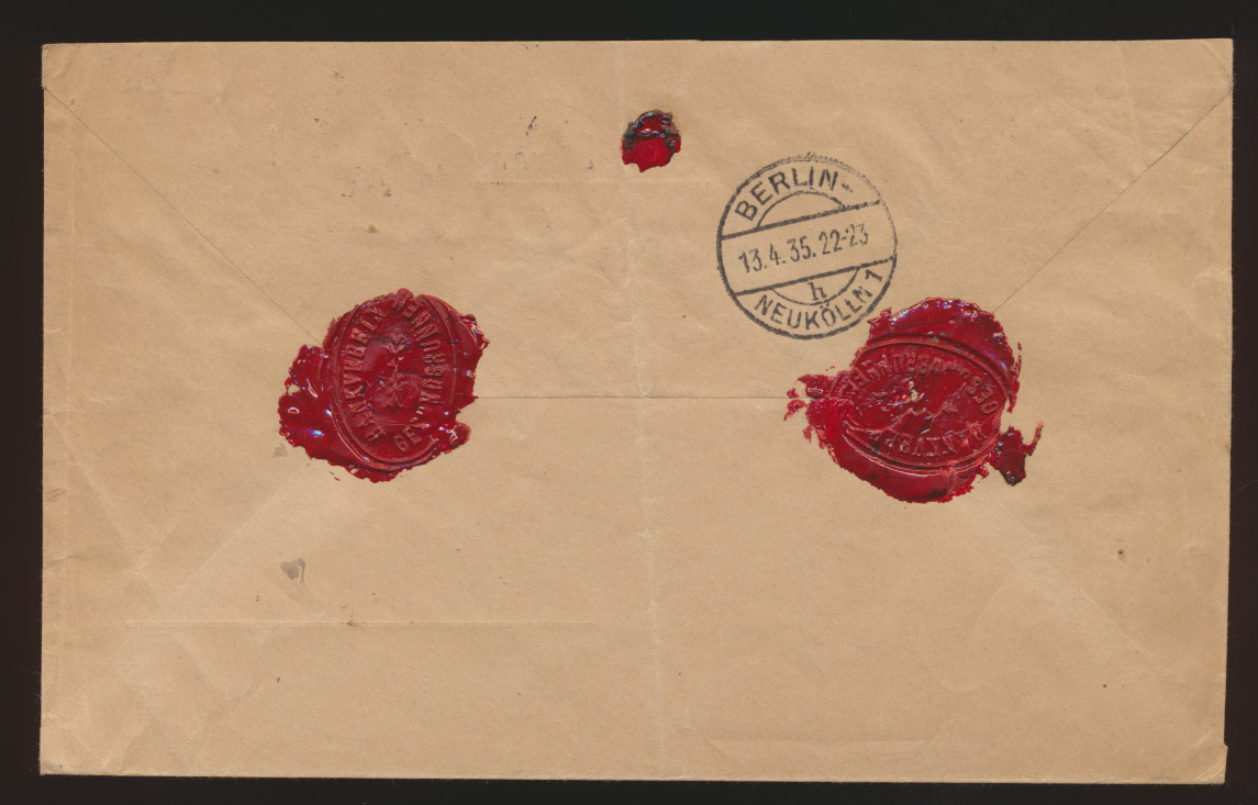 Postsache D. Reich R Brief MIF Hindenburg Postauftrag Berlin nach Neukölln Wachs 1