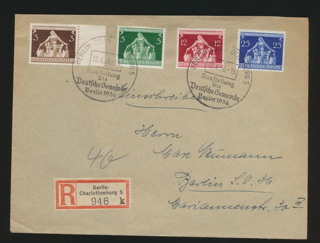 Reich R Brief MIF 617-0 SST Berlin Charlottenburg Ausstellung Deutsche Gemeinde 0