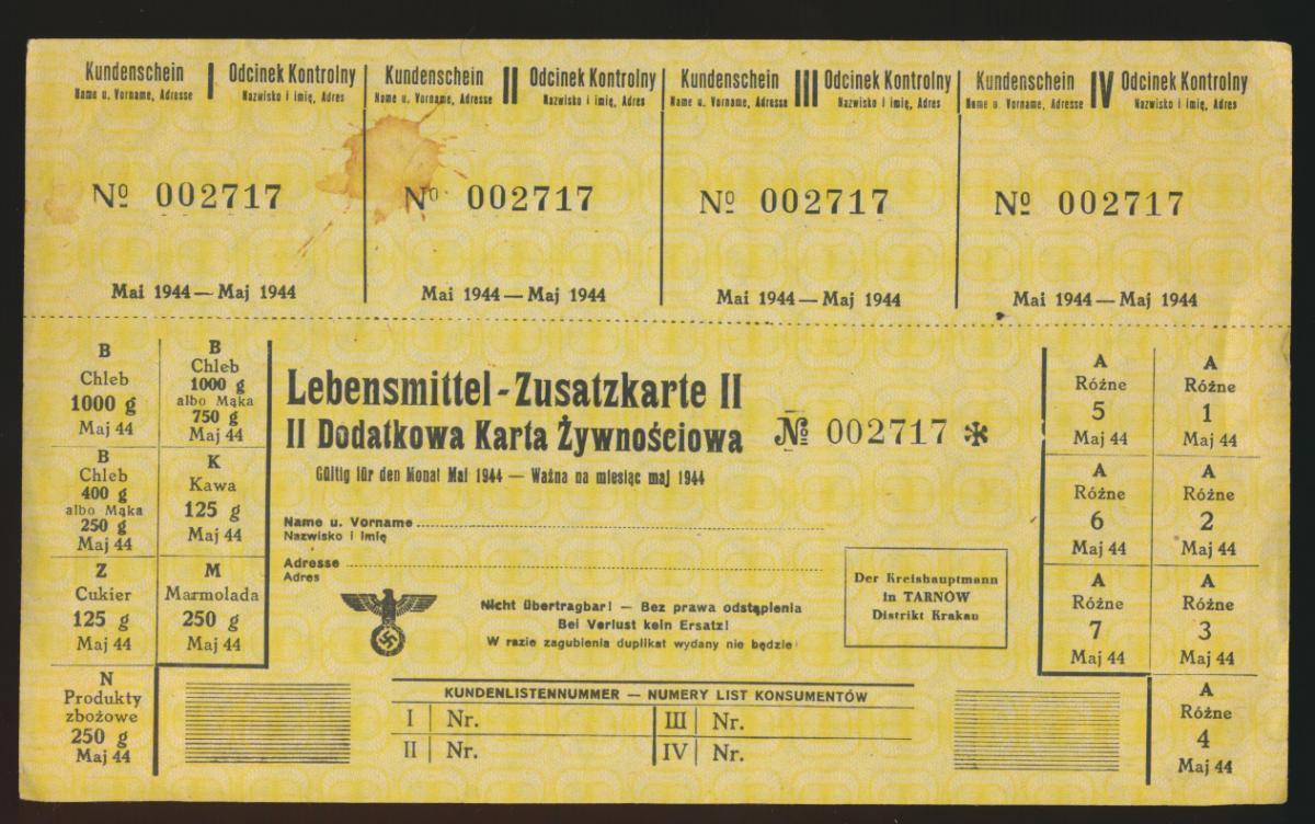 Ghetto Tarnow Tarnów Polen Krakau Lebensmittel Zusatzkarte II Mai 1944 D. Reich 0