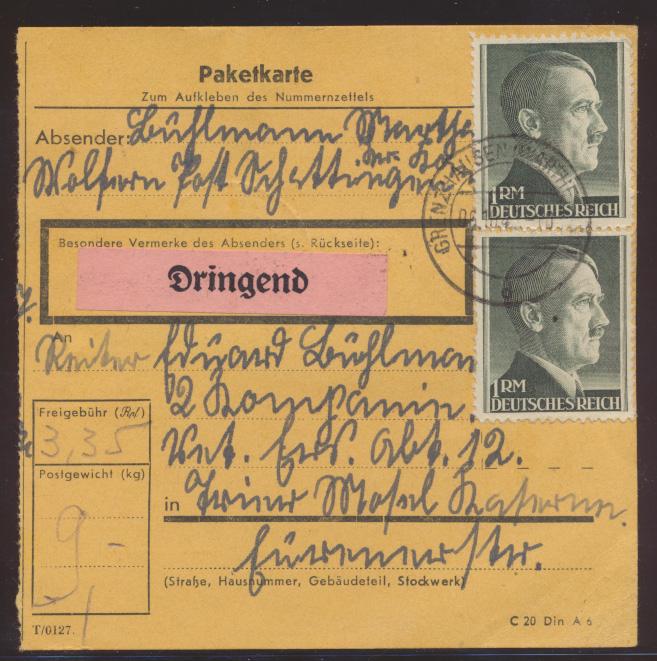 Deutsches Reich Wertbrief 799 A Paketkarte Postzettel Dringend Grenzhausen  0
