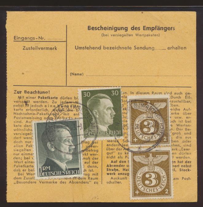 Deutsches Reich Wertbrief 799 A Paketkarte Postzettel Dringend Grenzhausen  1
