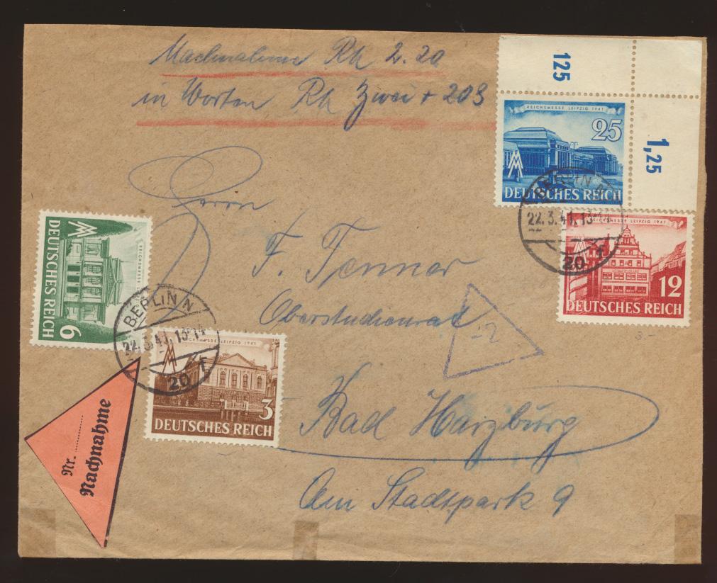 Deutsches Reich Nachnahme Brief 764-767 + Bogenecke Eckrand Berlin Bad Harzburg 0