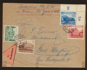 Deutsches Reich Nachnahme Brief 764-767 + Bogenecke Eckrand Berlin Bad Harzburg