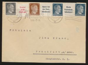 Deutsches Reich Brief Zusammendruck Hitler Berlin Cahrlottenburg Frankfurt Oder