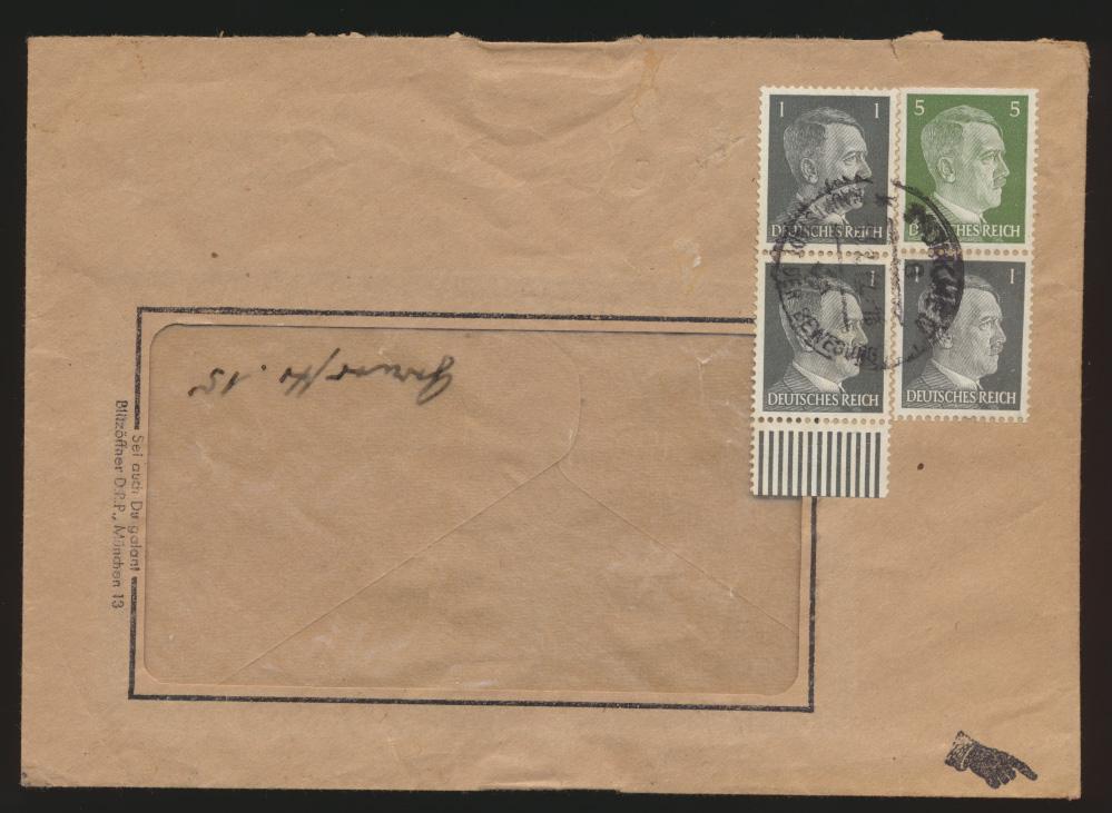 Deutsches Reich Brief Zusammendruck Hitler + Paar Unterrand München 27.1.1942  0
