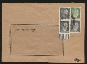 Deutsches Reich Brief Zusammendruck Hitler + Paar Unterrand München 27.1.1942