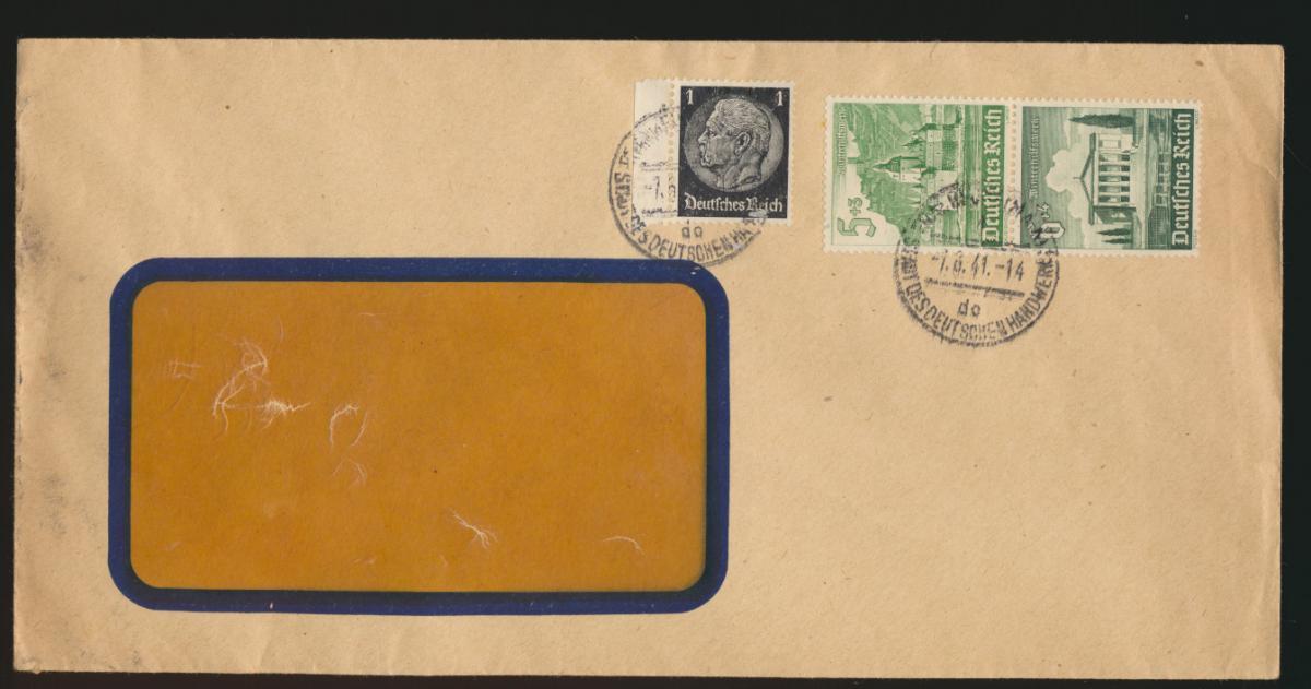 D. Reich Brief Zusammendruck WHW + 1 Pfg. Hindenburg SST Frankfurt Handwerk 0