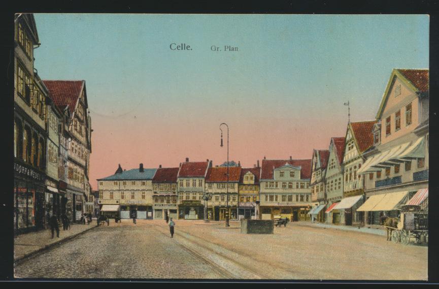 Ansichtskarte Celle Fr. Plan leuchtende Fenster Passanten  0