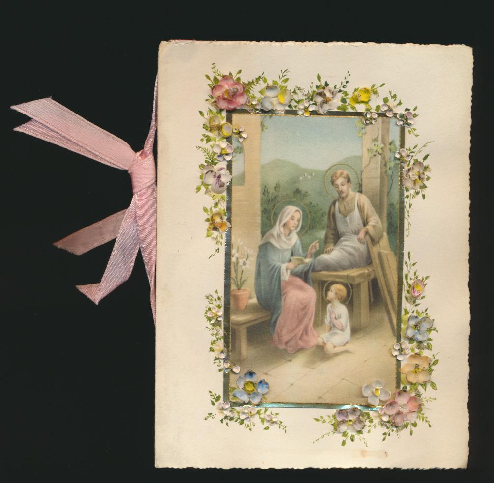 Ansichtskarte bzw. Klappkarte Glaube Kirche Christen tolle Karte echte Blumen 0
