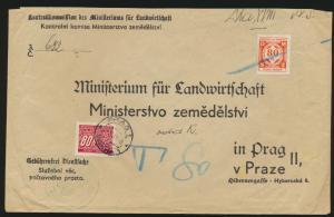 Besetzung Böhmen & Mähren Brief Dienst und Portomarke Landwirtschaft Ministerium