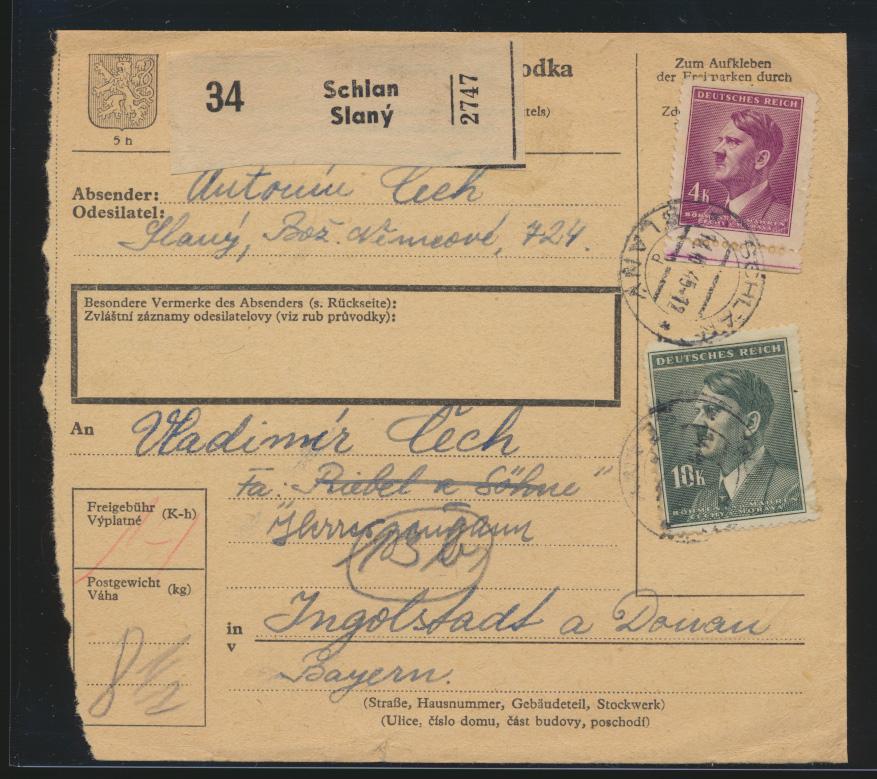Besetzung Böhmen & Mähren Brief Paketkarte MIF 4 + 10 K. Schlan Slany Ingolstadt 0