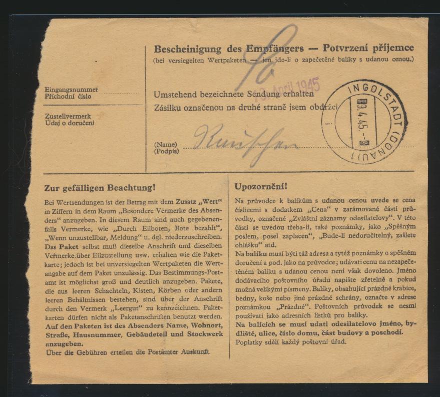 Besetzung Böhmen & Mähren Brief Paketkarte MIF 4 + 10 K. Schlan Slany Ingolstadt 1