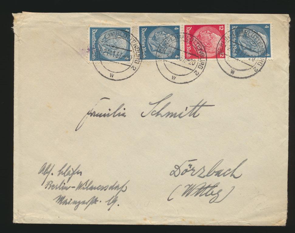Deutsches Reich Brief Zusammendruck Hindenburg S 164 + ZuF Berlin Charlottenburg 0