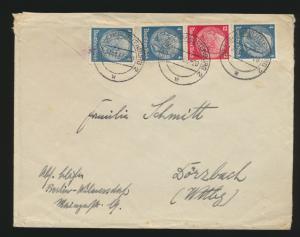 Deutsches Reich Brief Zusammendruck Hindenburg S 164 + ZuF Berlin Charlottenburg