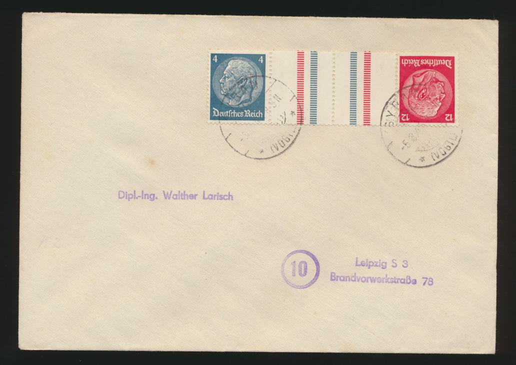 Reich Brief Zusammendruck Hindenburg KZ 28 Kehrdruck Syrau nach Leipzig 0