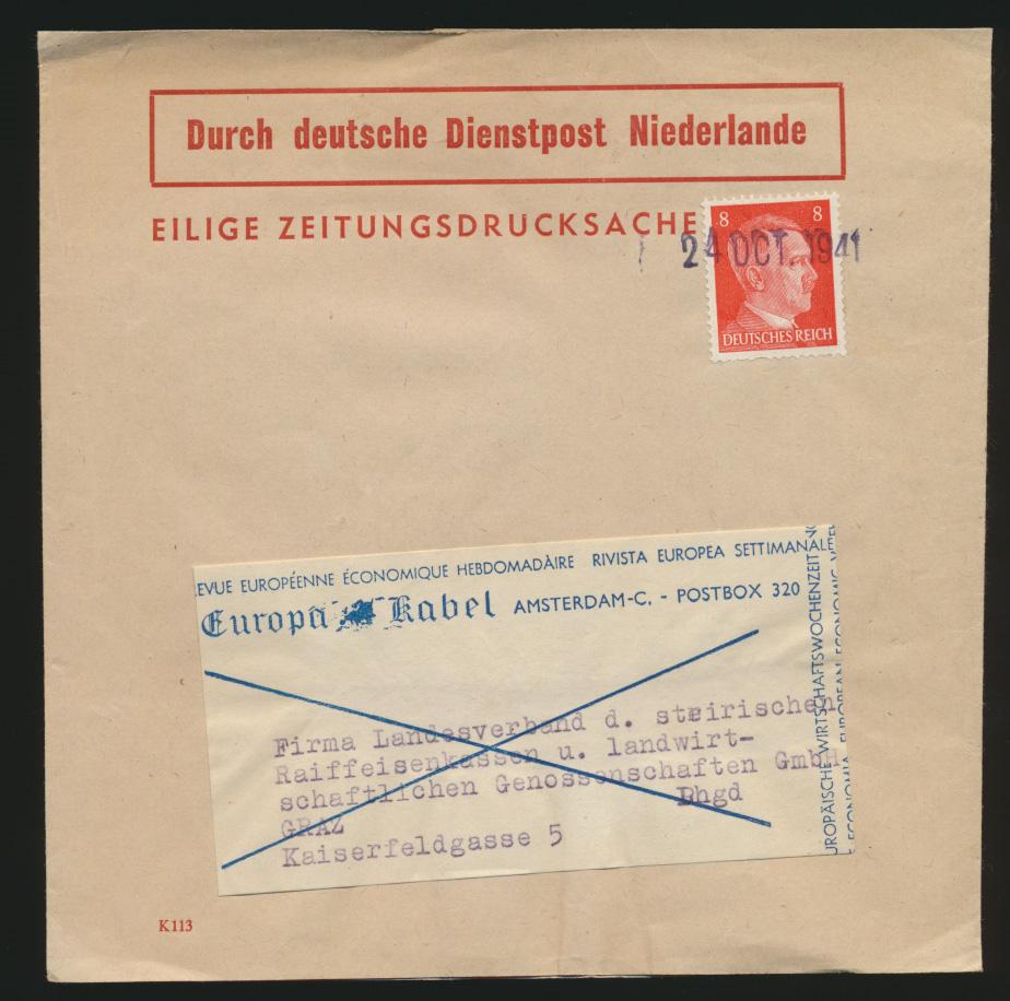 Besetzung D Dienstpost Niederlande EF Reich 786 Zeitungsdrucksache Tagesstempel  0