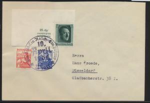 Reich Brief 648 Einzelmarke Block 9 + Österreich Ostmark 2 Länder Frankatur Wien