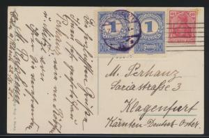 Ansichtskarte Köln vom Zeppelin aus gesehen + Österreich Nachporto n. Klagenfurt