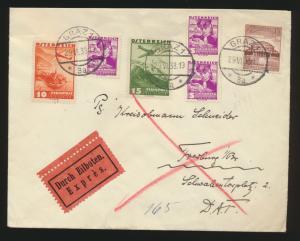 Flugpost Reich Eilboten Brief Österreich Ostmark 2-Länder Franka. Granz Freiburg