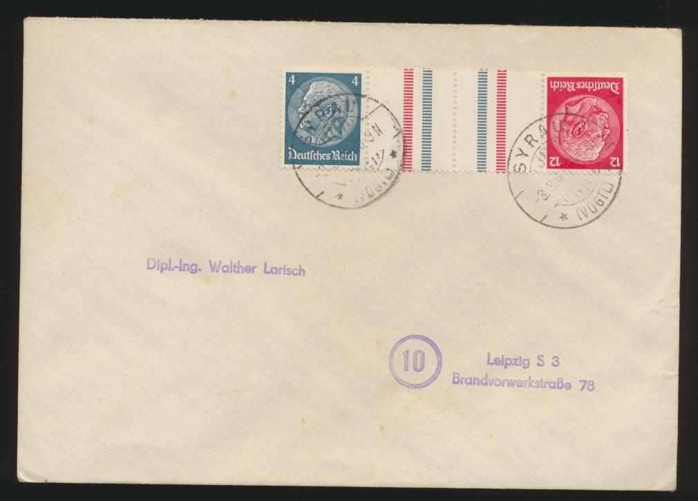Reich Brief Zusammendruck Hindenburg Syrau Leipzig letzen Kriegsmonate 3.3.1945 0