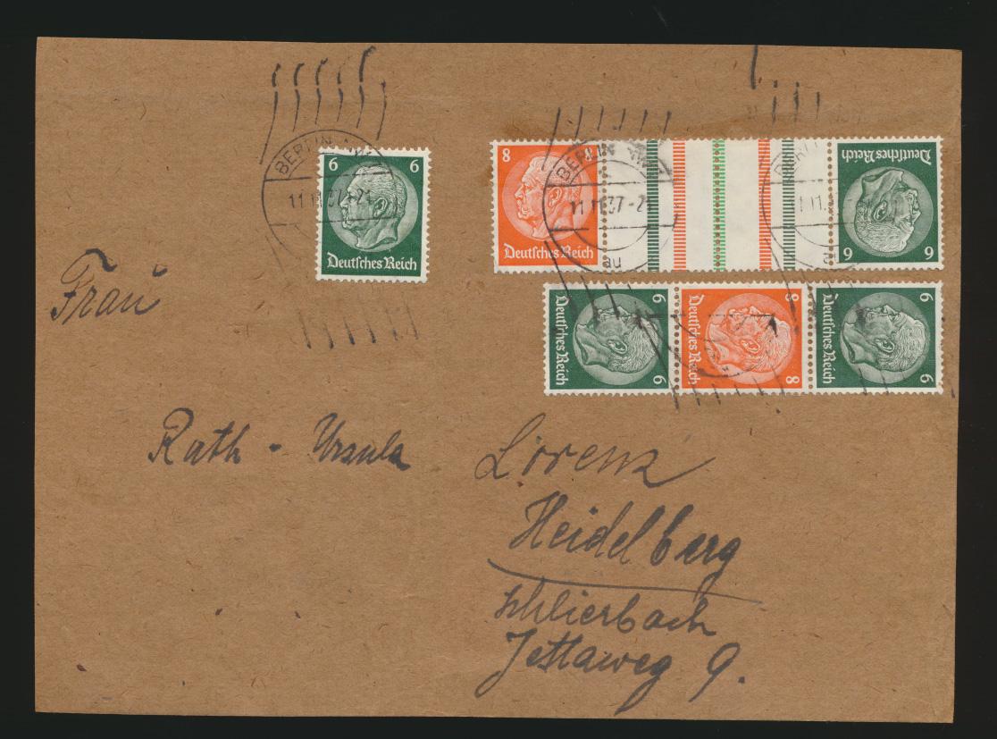 Reich Brief Zusammendruck Hindenburg Berlin Heidelberg auf Briefvorderseite  0