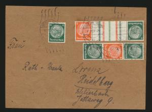 Reich Brief Zusammendruck Hindenburg Berlin Heidelberg auf Briefvorderseite