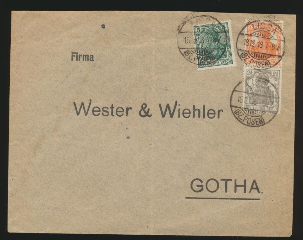 Deutsches Reich Brief Zusammendruck Germania S 13 Lissa Posen nach Gotha 0