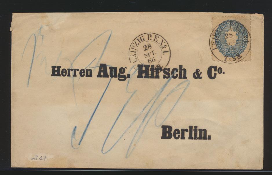 Altdeutschland Sachsen EF 17 K2 LEIPZIG P.E.N. No 1 nach Berlin 28.9.1866 0