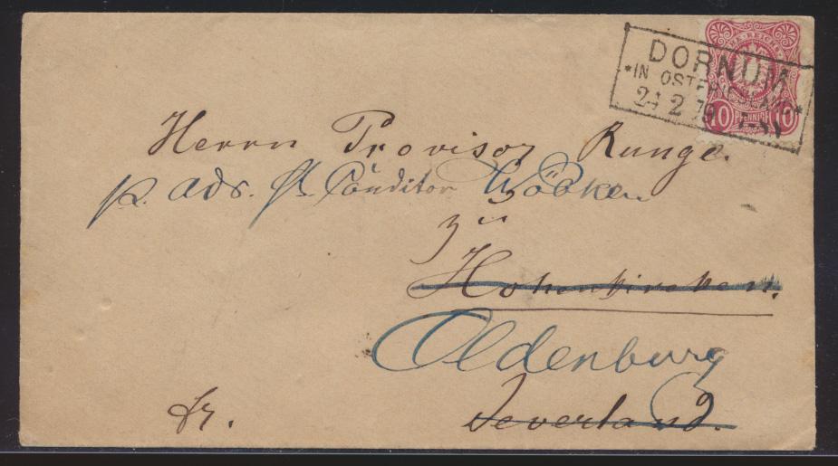 Deutsches Reich Brief EF Pfennige R3 DORNUM OSTFRIESLAND n. Oldenburg 24.2.1879 0