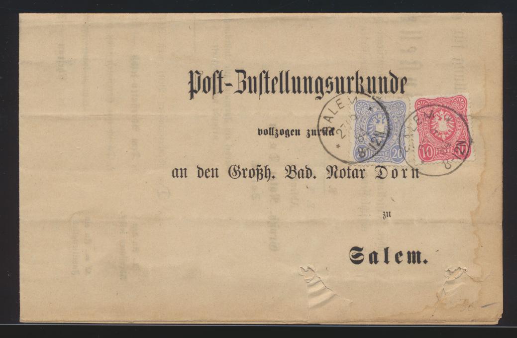 Deutsches Reich Brief MIF 10+20 Pfg. Reichsadler Post Zustellurkunde Salem  0