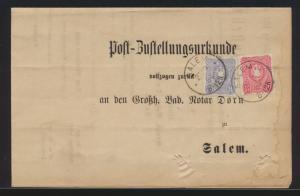 Deutsches Reich Brief MIF 10+20 Pfg. Reichsadler Post Zustellurkunde Salem