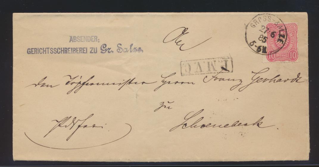 Reich Brief EF10 Pf Adler Portofreiheitsstempel Franchise R1 P.M.V.C Groß Salzue 0