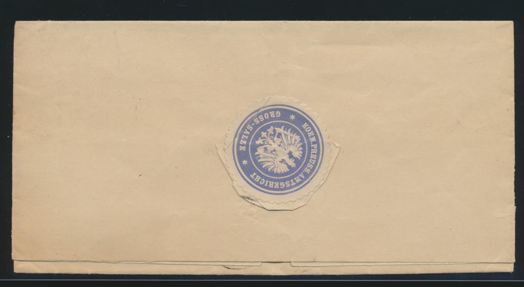 Reich Brief EF10 Pf Adler Portofreiheitsstempel Franchise R1 P.M.V.C Groß Salzue 1