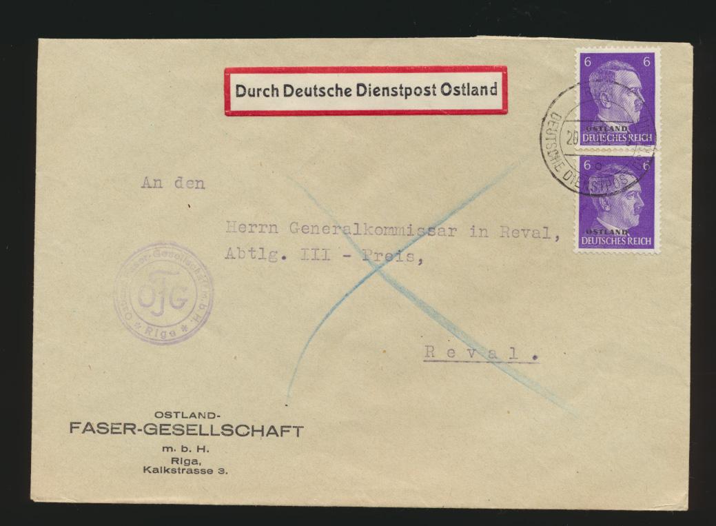 Besetzung Deutsche Dienstpost Ostland Brief MEF Hitler Aufdruck Riga nach Reval 0
