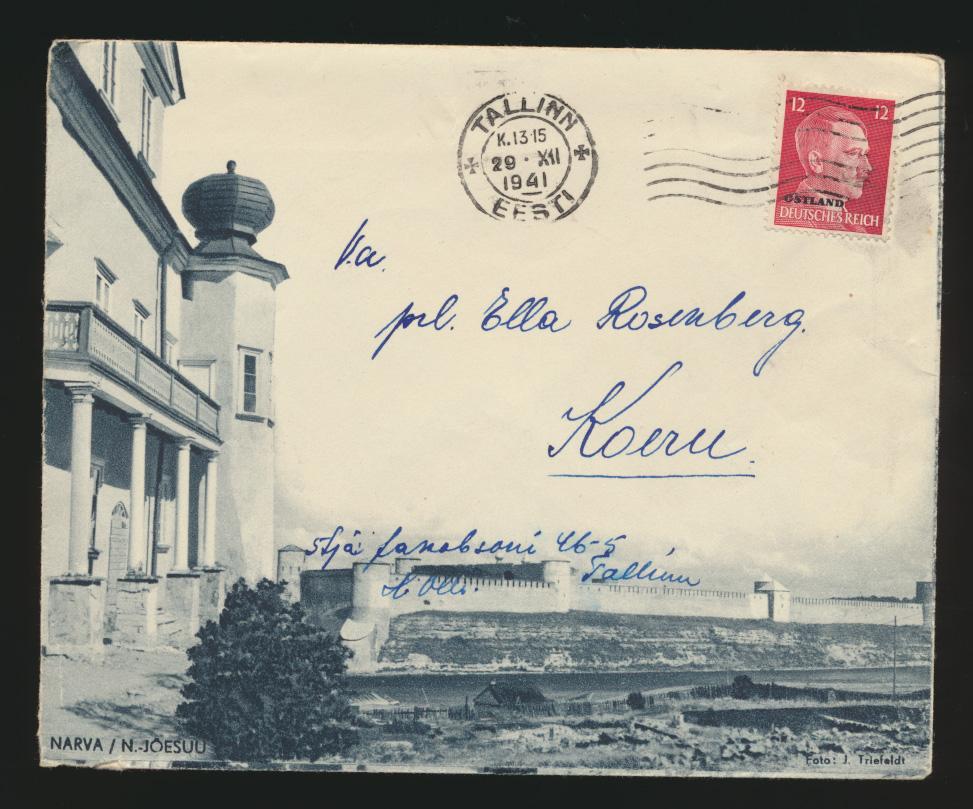 Besetzung Deutsche Ostland Brief Tallinn Estland sehr schön illustrierter Brief 0