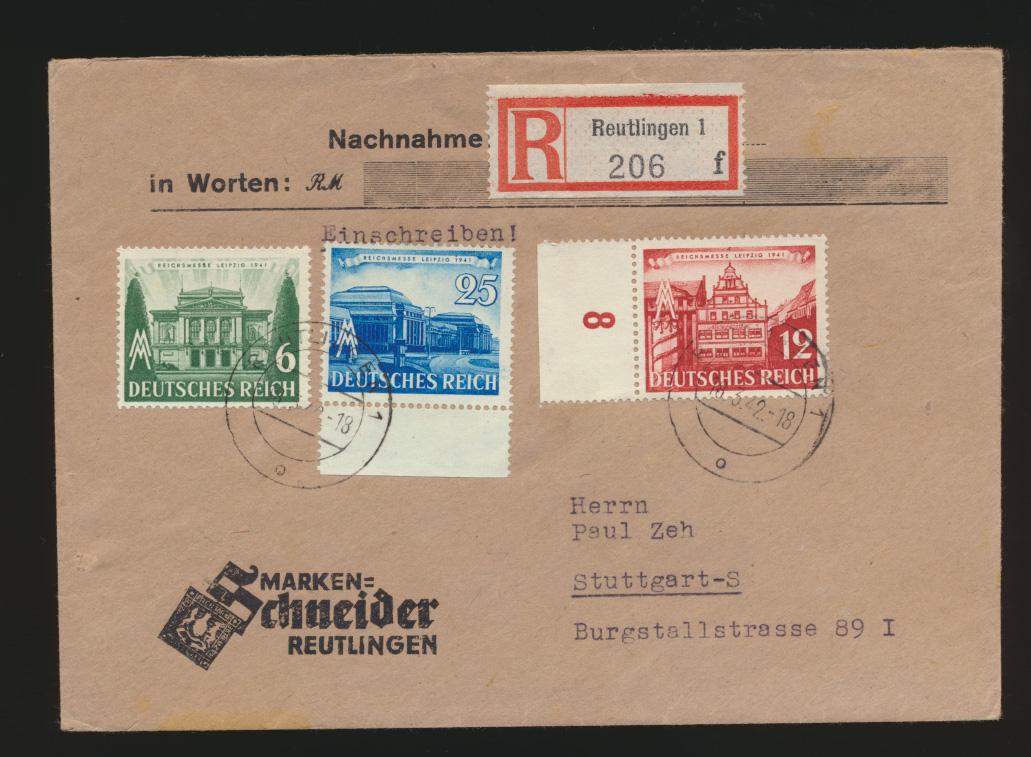 D. Reich R Brief Messe Leipzig n. Ak-St. Stuttgart Stadt der Auslandsdeutschen  0