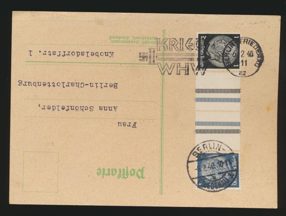 D Reich Zusammendruck Karte Hindenburg selt. Stempel Kriegs WHW Berlin Friedenau 0