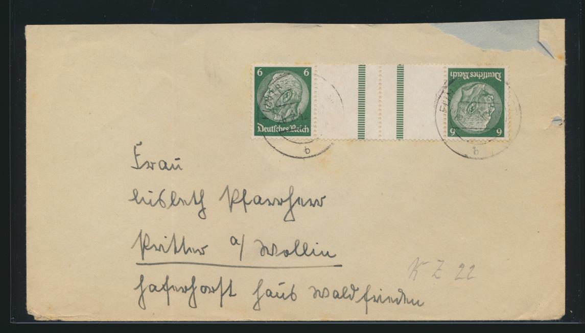 Deutsches Reich Zusammendruck Brief Hindenburg Kehrdruck 26.2.1942 0