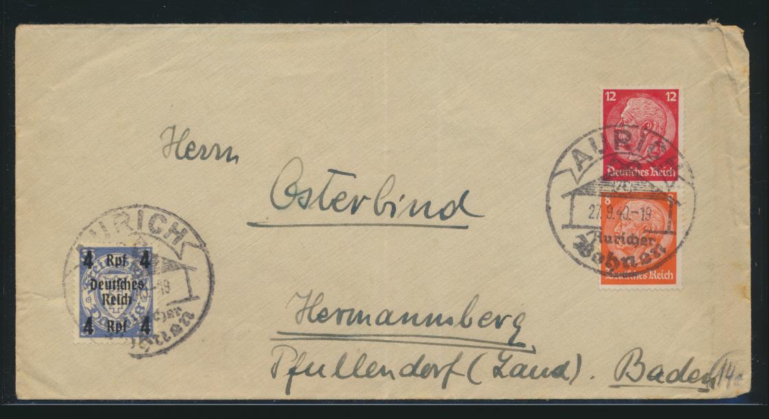 Deutsches Reich Zusammendruck Brief MIF Hindenburg + Danzig Aufdruck SST Aurich 0