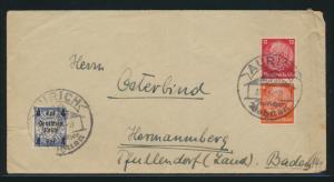 Deutsches Reich Zusammendruck Brief MIF Hindenburg + Danzig Aufdruck SST Aurich