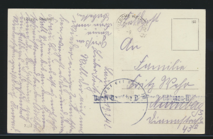 Besetzung Deutsche Dienstpost Böhmen & Mähren auf Ansichtskarte Louny Tschechien 0