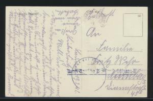 Besetzung Deutsche Dienstpost Böhmen & Mähren auf Ansichtskarte Louny Tschechien