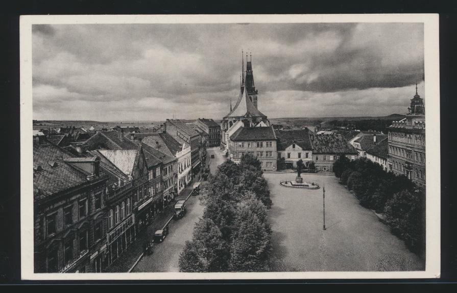 Besetzung Deutsche Dienstpost Böhmen & Mähren auf Ansichtskarte Louny Tschechien 1
