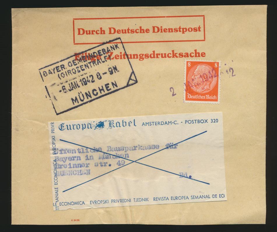 Besetzung Dienstpost Niederlande Reich EF Hindenburg Amsterdam München 0